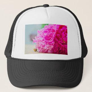 Pink peony beauty trucker hat