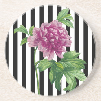 Pink Peony Black Stripes Chic Coaster