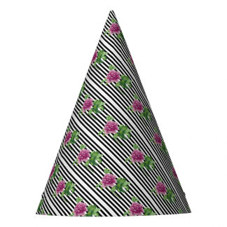Pink Peony Black Stripes Chic Party Hat