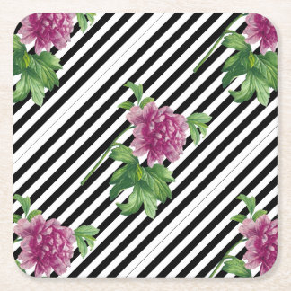 Pink Peony Black Stripes Chic Square Paper Coaster