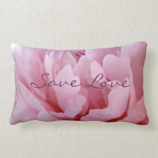 Pink Peony Blossom. Lumbar Cushion