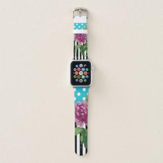 Pink Peony Blue Pattern Apple Watch Band