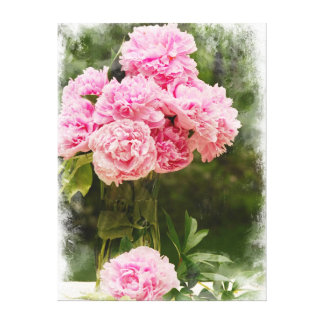 Pink Peony Bouquet with Soft Edge Wrapped Canvas