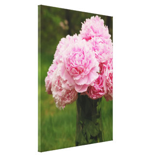 Pink Peony Bouquet Wrapped Canvas