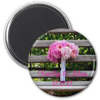 Pink Peony Bridal Bouquet 6 Cm Round Magnet
