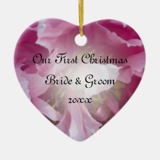 Pink Peony First Christmas Together Ceramic Heart Decoration