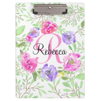 Pink Peony Floral Watercolor Monogram Clipboard