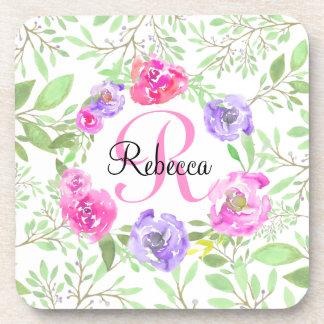 Pink Peony Floral Watercolor Monogram Coasters