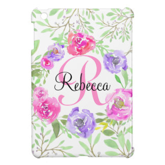 Pink Peony Floral Watercolor Monogram Cover For The iPad Mini