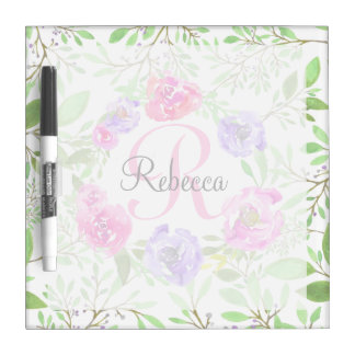 Pink Peony Floral Watercolor Monogram Dry Erase Board
