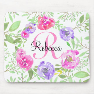 Pink Peony Floral Watercolor Monogram Mouse Pad