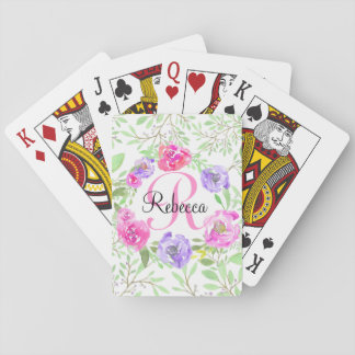 Pink Peony Floral Watercolor Monogram Poker Deck