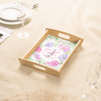 Pink Peony Floral Watercolor Monogram Serving Tray
