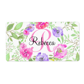 Pink Peony Floral Watercolor Monogram Shipping Label