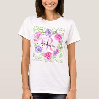 Pink Peony Floral Watercolor Monogram T-Shirt
