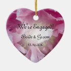 Pink Peony Flower Engagement Ceramic Ornament