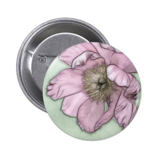Pink Peony Flower Sketch 6 Cm Round Badge