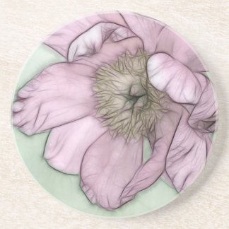 Pink Peony Flower Sketch Coaster