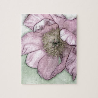 Pink Peony Flower Sketch Jigsaw Puzzle