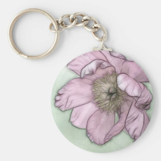 Pink Peony Flower Sketch Key Ring