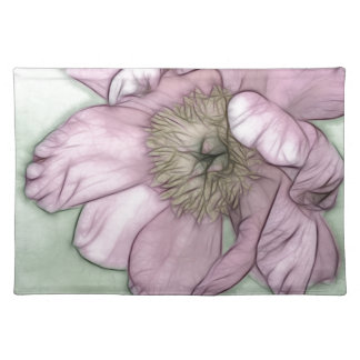 Pink Peony Flower Sketch Placemat