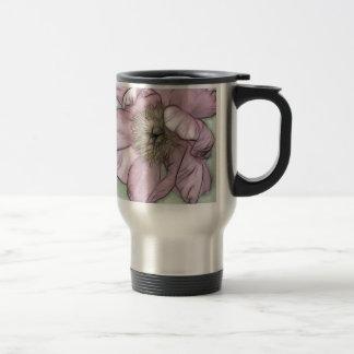 Pink Peony Flower Sketch Travel Mug