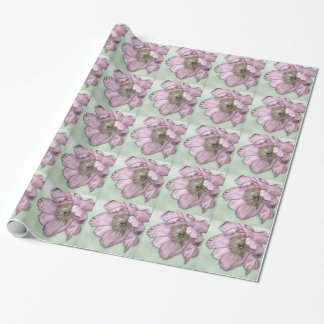 Pink Peony Flower Sketch Wrapping Paper
