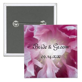 Pink Peony Flower Wedding 15 Cm Square Badge