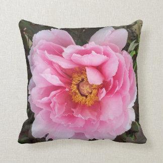 Pink Peony Garden Flower Pillow