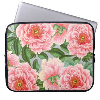 Pink Peony Grey Laptop Sleeve