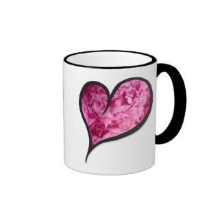 Pink Peony Heart Floral Design Ringer Mug