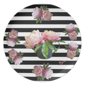 "Pink Peony In Watering Can 10"" Melamine Plate"