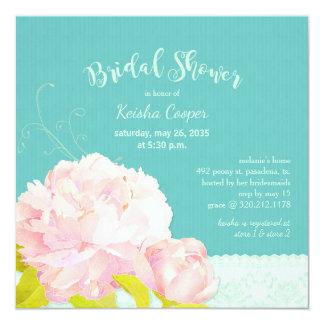 Pink Peony Lagoon Green Bridal Shower Card