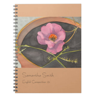 Pink Peony Notebook, Terra Cotta, Customizable Notebook