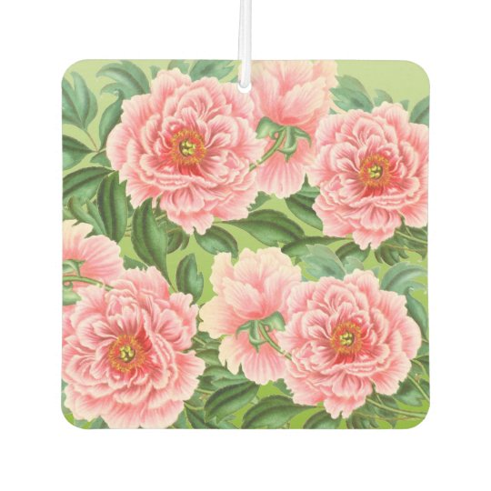 Pink Peony On  Lime Car Air Freshener