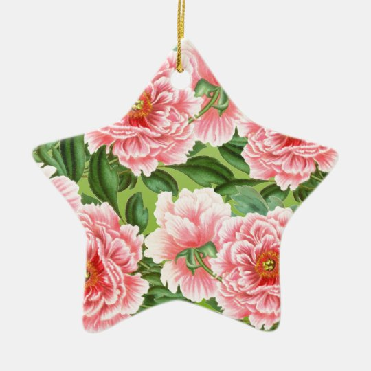 Pink Peony On Lime Ceramic Ornament