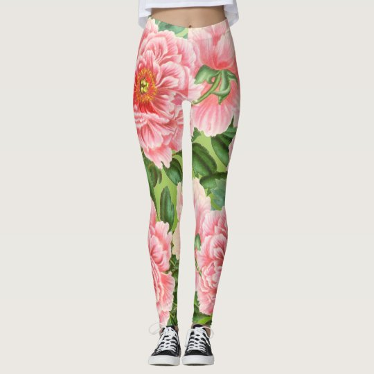 Pink Peony On  Lime Leggings