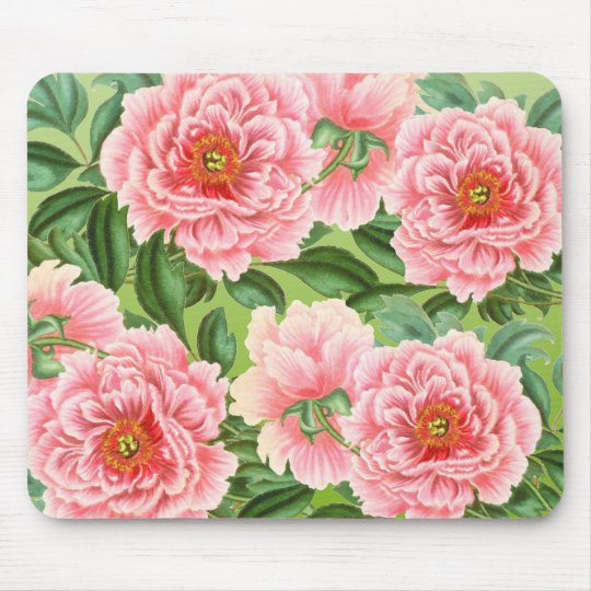 Pink Peony On Lime Mouse Pad