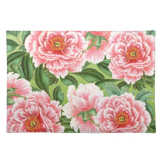 Pink Peony On Lime Placemat