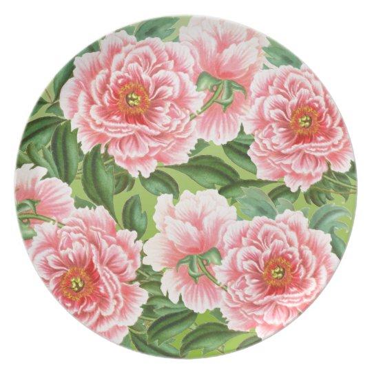 Pink Peony On Lime Plate