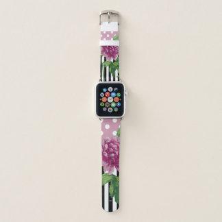 Pink Peony Pattern Shabby Apple Watch Band