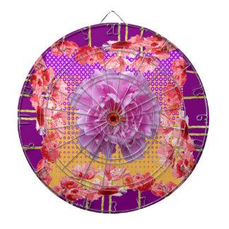 pink peony purple floral art dartboard