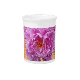 pink peony purple floral art pitcher