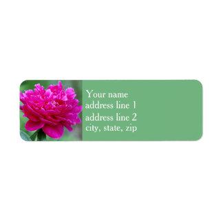 Pink Peony Return Address Label