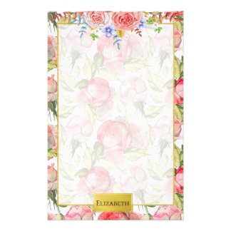 Pink Peony & Roses Floral Personalised Stationery