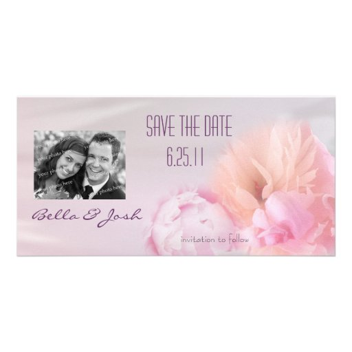 Pink Peony Save the Date Photo Card