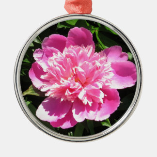 Pink Peony Silver-Colored Round Decoration