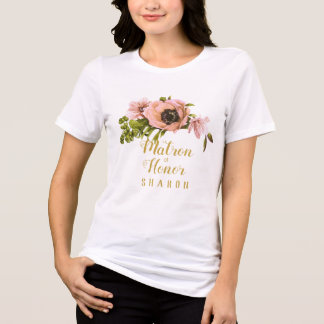 Pink Peony Swag Maid/Matron of Honor Name ID456 T-Shirt
