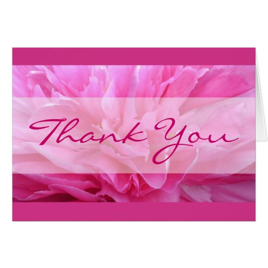 Pink Peony Thank You Card