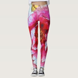 Pink Peony Van Gogh Style Leggings